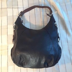 Danier black & brown leather big hobo shoulder bag